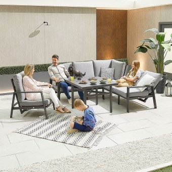 Nova - Enna Compact Corner Dining Set with Parasol Hole Table & Lounge Chair
