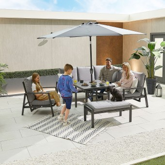 Nova - Enna Compact Corner Dining Set with Parasol Hole Table & Lounge Chair & Bench
