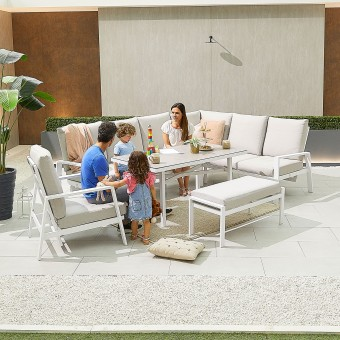 Nova - Enna Reclining Right Corner Dining Set with Parasol Hole & Lounge Chair & Bench