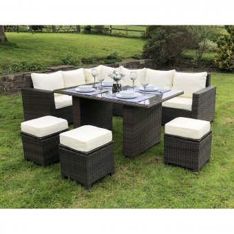 Alba - Rattan Corner Sofa Casual Dining Set in Brown
