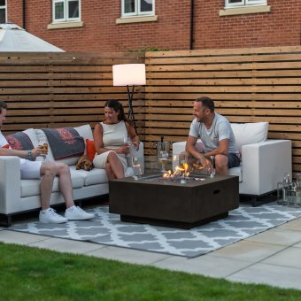 Nova - Fireglow Albany Square Gas Firepit Coffee Table with Wind Guard