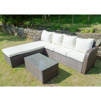 All Weather Rattan Sofa Lounger Set in Brown