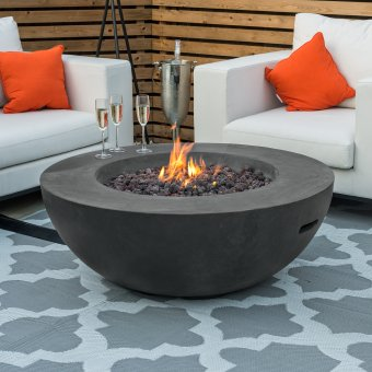 Nova - Fireglow Brisbane Round Gas Fire Bowl - Dark Grey