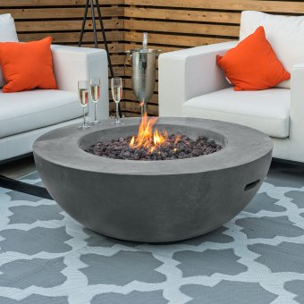 Nova - Fireglow Brisbane Round Gas Fire Bowl - Light Grey