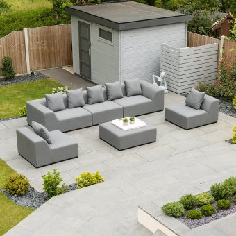 Nova - Buddha Outdoor Fabric Sofa Set with Stool - Flanelle