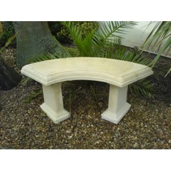 Country Stone Curved Garden Bench