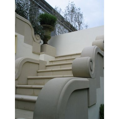 Bullnose Scroll Cast Reconstituted Stone Steps - UK Made