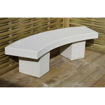 Harley Modern Curved Garden Bench Dry Cast Reconstituted Stone - UK Made