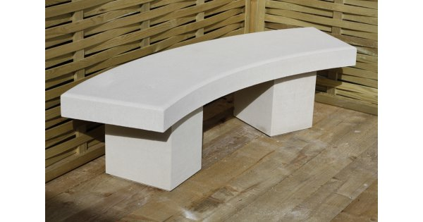 Modern Curved Garden Bench Dry Cast Reconstituted Stone