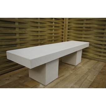 A Harley Modern Straight Garden Bench Dry Cast Reconstituted Stone - UK Made