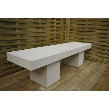 Harley Modern Straight Garden Bench Dry Cast Reconstituted Stone - UK Made