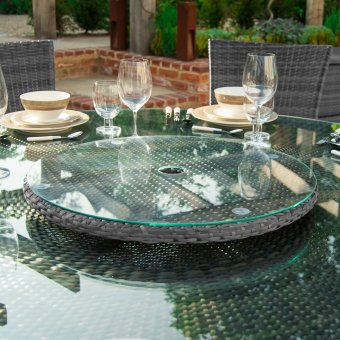 Rattan Lazy Susan Outdoor Garden Furniture in Mixed Grey