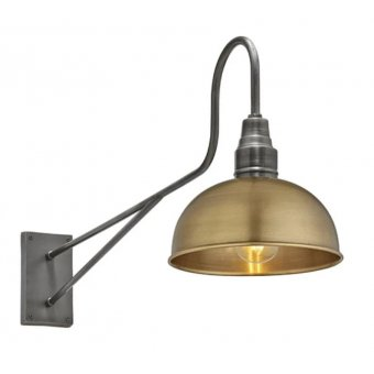 Long Arm Dome Wall Light - 8 Inch - Brass, by Industville