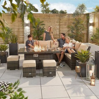 Nova - Cambridge Right Hand Corner Rattan Dining Set with Firepit Table - Brown