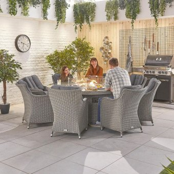 Nova - Heritage Camilla 8 Seat Dining Set with Fire Pit - 1.8m Round Table - White Wash