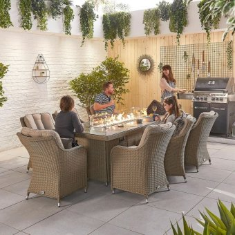 Nova - Heritage Camilla 8 Seat Dining Set with Fire Pit - 2m x 1m Rectangular Table - Willow