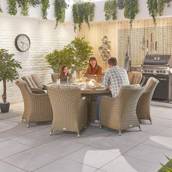 Nova - Heritage Camilla 8 Seat Dining Set with Fire Pit - 1.8m Round Table - Willow