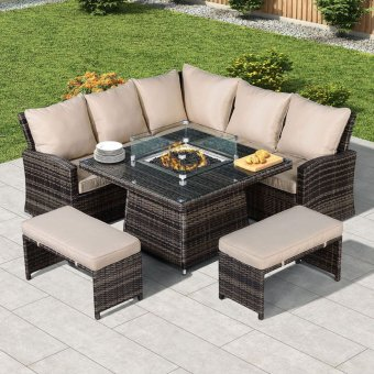 Nova - Cambridge Compact Corner Dining Set with Fire Pit Table - Brown