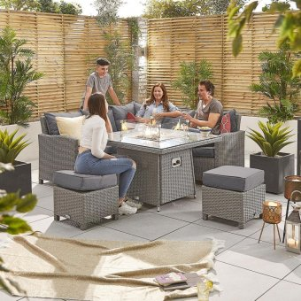 Nova - Heritage Ciara Compact Corner Dining Set with Fire Pit Table - White Wash