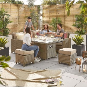 Nova - Heritage Ciara Compact Corner Dining Set with Fire Pit Table - Willow