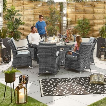 Nova - Olivia 6 Seat Dining Set with Fire Pit - 1.5m Round Table - Grey