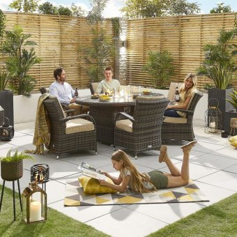 Nova - Olivia 6 Seat Dining Set with Fire Pit - 1.8m x 1.2m Oval Table - Brown