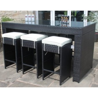All Weather Black Rattan 6 Seat Bar Table Garden Furniture set