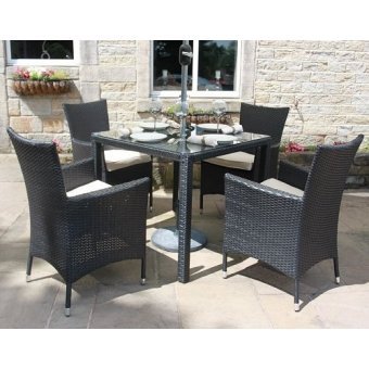 All Weather Black Rattan 4 Seat Square Garden Furniture Dining Set