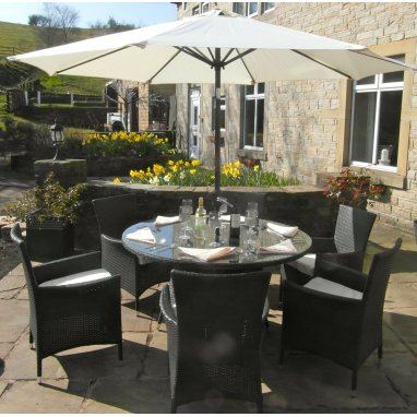 All Weather Black Rattan 6 Seat Round Garden Furniture Dining Set with Parasol