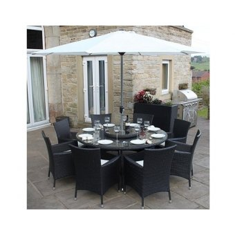 All Weather Black Rattan 8 Seat Round Garden Furniture Dining Set