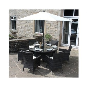 All Weather Mixed Brown Rattan 8 Seat Round Garden Furniture Dining Set