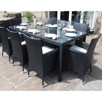 All Weather Black Rattan 8 Seat Rectangle Garden Furniture Dining Set