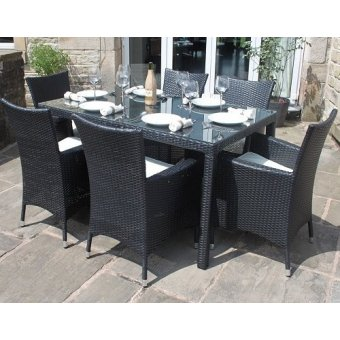 All Weather Black Rattan 6 Seat Rectangle Garden Furniture Dining Set