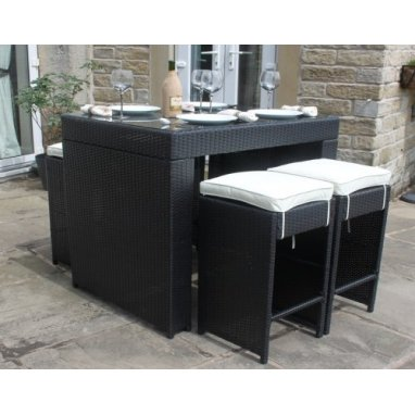 All Weather Black Rattan 4 Seat Bar Table Garden Furniture set