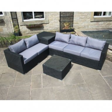 All Weather Rattan Outdoor Garden Furniture 3 and 2 Seater Sofa with storage corner unit