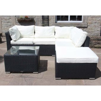 All Weather Rattan Outdoor Garden Furniture 4 Seater Corner Sofa with coffee table in Black