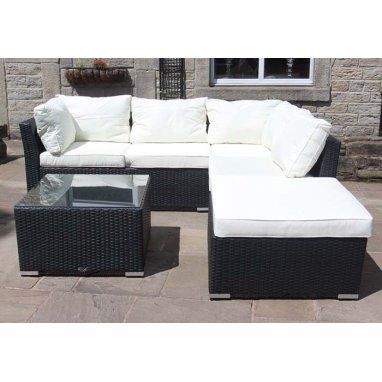 Rattan Outdoor Garden Furniture 4 Seater Corner Sofa with coffee table in Black