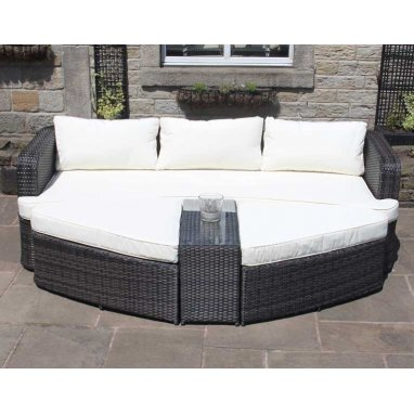 Rattan Lounge Set Sofa with Table & Ottomans Outdoor Garden Furniture