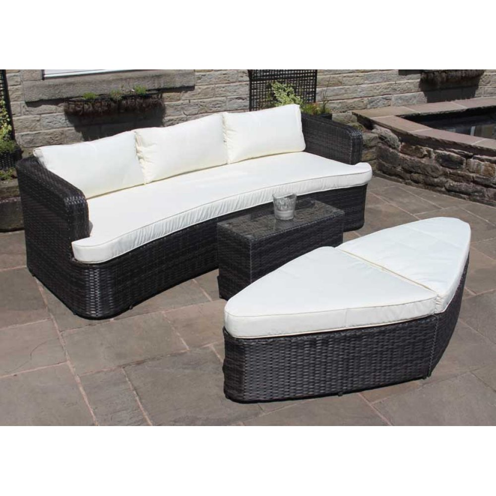 rattan lounge set sofa with table ottomans outdoor garden furniture. Black Bedroom Furniture Sets. Home Design Ideas