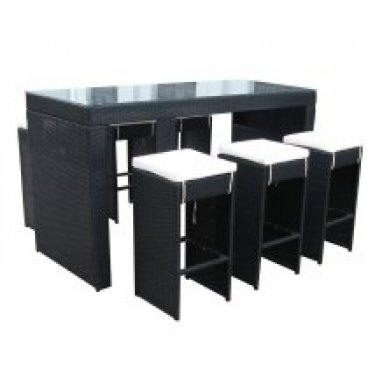 All Weather Black Rattan Garden Drinks Bar 6 Stool Furniture Dining Set