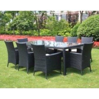 Black Rattan Outdoor 8 Seater Garden Furniture Dining Set