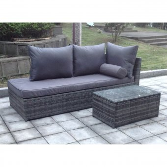 All Weather Rattan Sofa Lounger Set in Grey