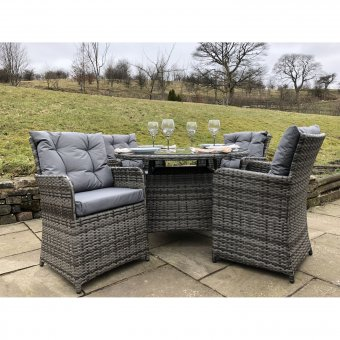 Rattan Outdoor 4 Seat Round Garden Dining Set in Black, Brown or Grey