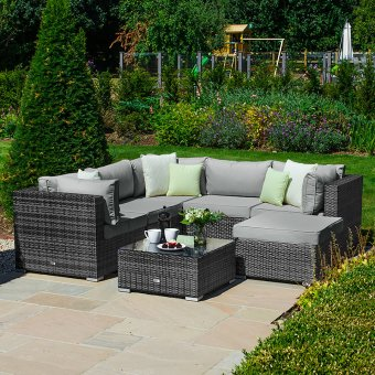 Nova - Chelsea Corner Luxury Rattan Sofa Set - Grey