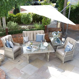 Nova - Oyster 2 Seater Rattan Sofa Set with Casual Dining Table