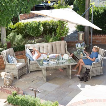 Nova - Oyster 3 Seater Rattan Sofa Set with Casual Dining Table