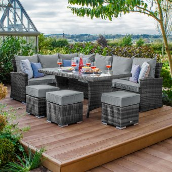 Nova - Cambridge Left Hand Corner Rattan Dining Set - Grey