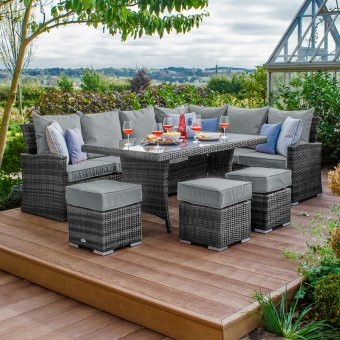 Nova - Cambridge Right Hand Corner Rattan Dining Set - Grey