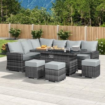 Nova - Cambridge Left Hand Corner Rattan Dining Set with Firepit Table - Grey