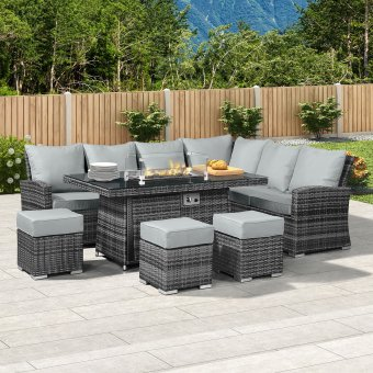 Nova - Cambridge Right Hand Corner Rattan Dining Set with Firepit Table - Grey